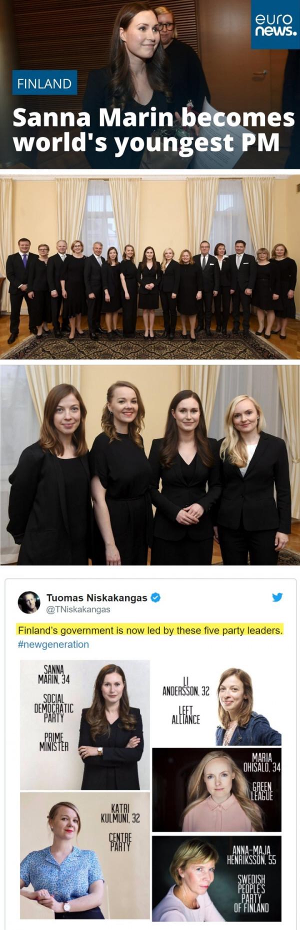 핀란드의 34세 새 여성 총리, 내각 amp; 연립정권 정당대표들.jpg 사진
